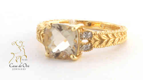 Quartz & Diamond Ring 14K Yellow