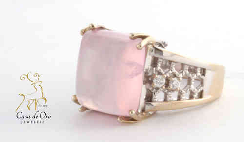 Rose Quartz and Diamond Ring 14K White