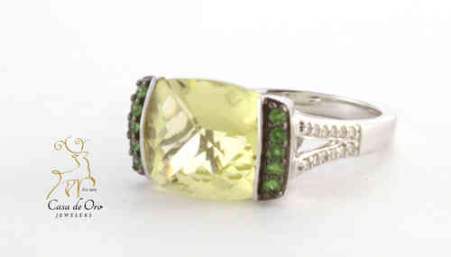 Quartz,Tsavorite & Diamond Ring 14KW
