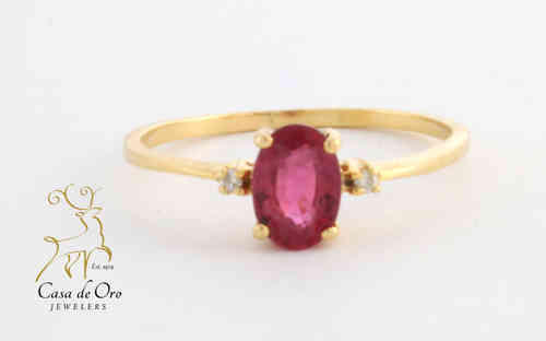 Tourmaline & Diamond Ring 14K Yellow