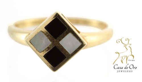 Onyx & Mother of Pearl Ring 14K Yellow