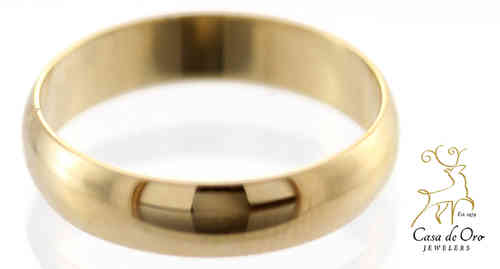 Gold Low Dome Wedding Band 4mm 14KY