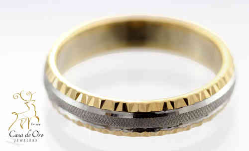 Gold Diamond Cut Wedding Band 14KTT