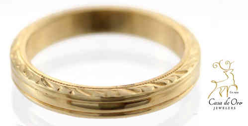 Gold Band with Etching 14K Yellow