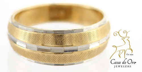 Gold Tapered Band 14K Two Tone