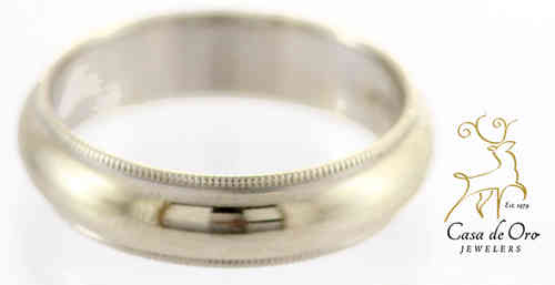Men's Millgrain Wedding Band 14KW