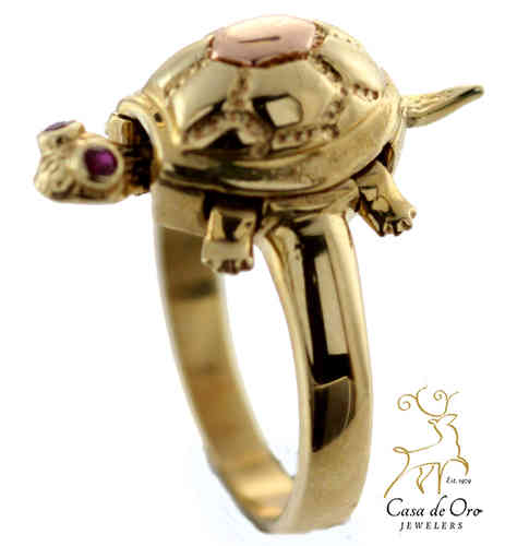 Ruby Turtle Ring 10K Yellow