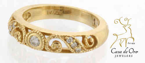 Diamond Filigree Band 14K Yellow