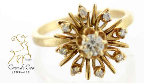 Diamond Cluster Ring 14K Yellow