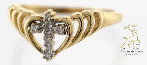 Diamond Cross Ring 10K Yellow