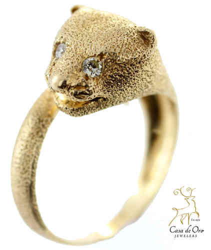 Diamond Panther Ring 14K Yellow