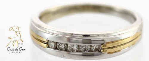 Diamond Wedding Band 10K Two Tone