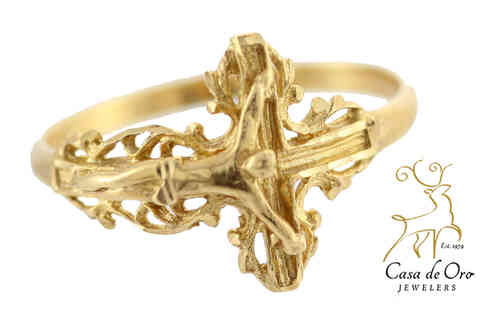 Gold Crucifixion Ring 14K Yellow