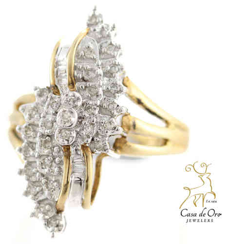 Diamond Cluster Ring 10K Yellow