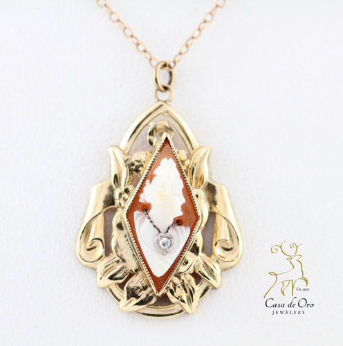 Cameo & Diamond Pendant 10K Yellow