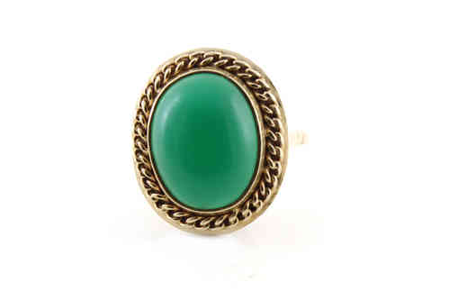 Chrysoprase Ring 14K Yellow