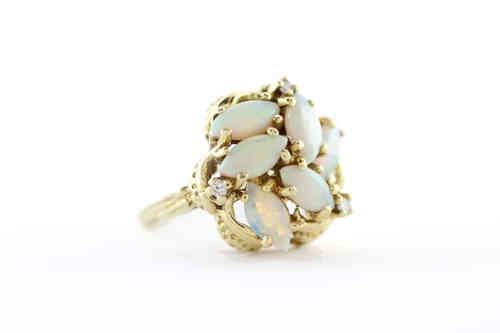 Opal & Diamond Cluster Ring 14K Yellow
