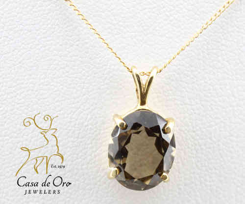 Smoky Quartz Pendant 14K Yellow