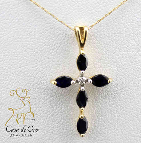 Black Onyx & Diamond Cross 14K Yellow