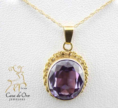 Amethyst (Simulated) Pendant 14KY