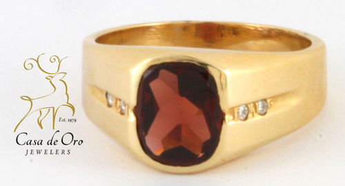 Garnet & Diamond Men's Ring 14KY