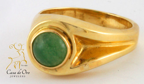 Aventurine Men's Ring 14K Yellow