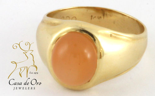 Moonstone Men's Ring 14K Yellow