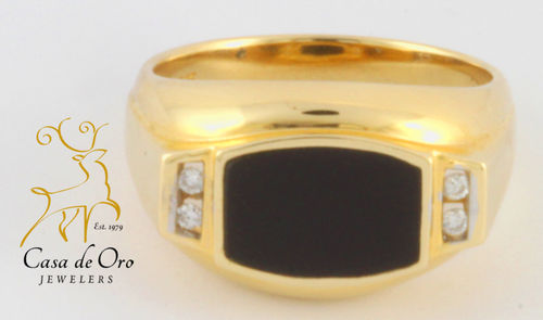 Onyx & Diamond Men's Ring 14KY