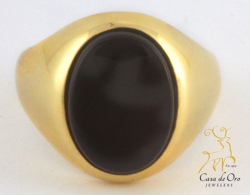 Onyx Men's Ring 18K Yellow
