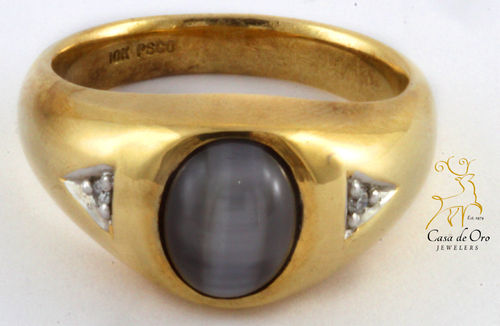 Cat's Eye & Diamond Men's Ring 10KY