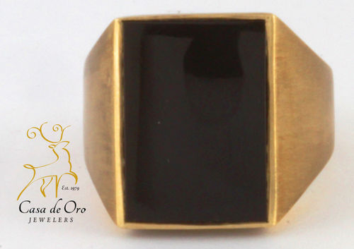 Onyx Men's Ring 10K Yellow