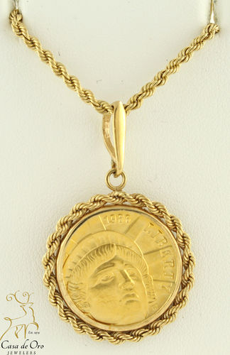 Gold US $5.00 Pendant (Price +Coin) 14KY