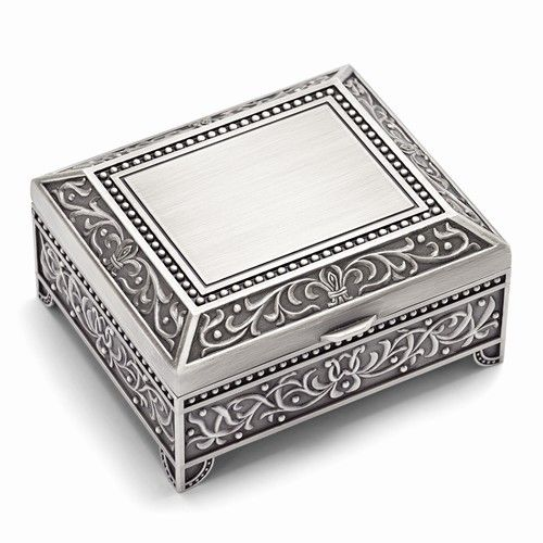 Pewter-tone Floral Square Jewelry Box
