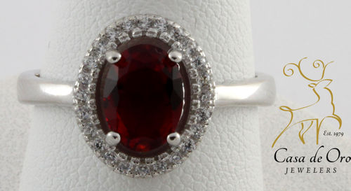 Ruby (Simulated)/CZ Ring Sterling
