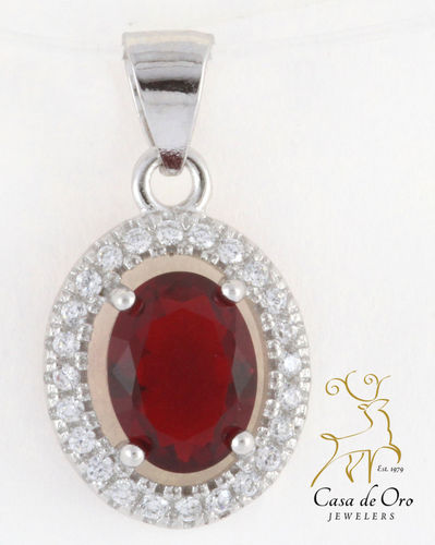 Sterling Pendant w/Simulated Rub & CZ