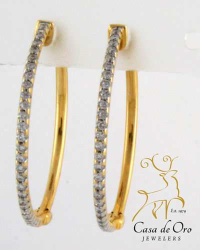 Diamond Hoop Earrings 14K Yellow