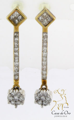 Diamond Dangle Earrings 14K Yellow