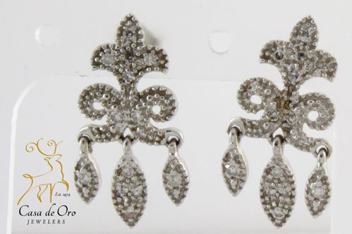 Diamond Dangle Earrings 14K White