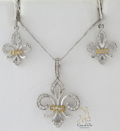 Diamond Pendant & Earrings 14K Two Tone