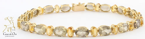 Citrine & Quartz Bracelet 14K Yellow
