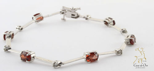 Garnet & Diamond Bracelet 10K White