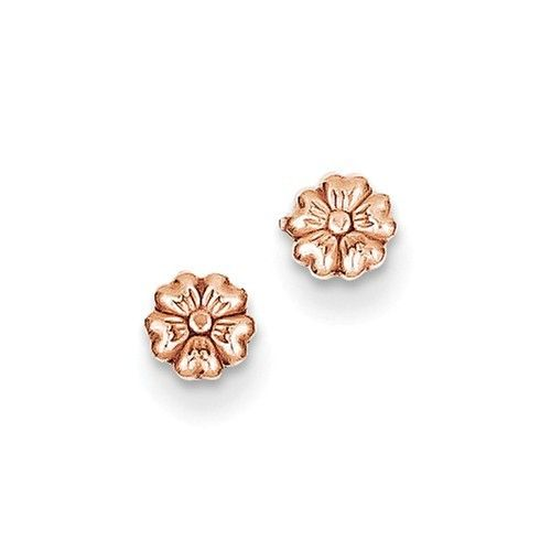 14k Rose Gold Flower Post Earrings