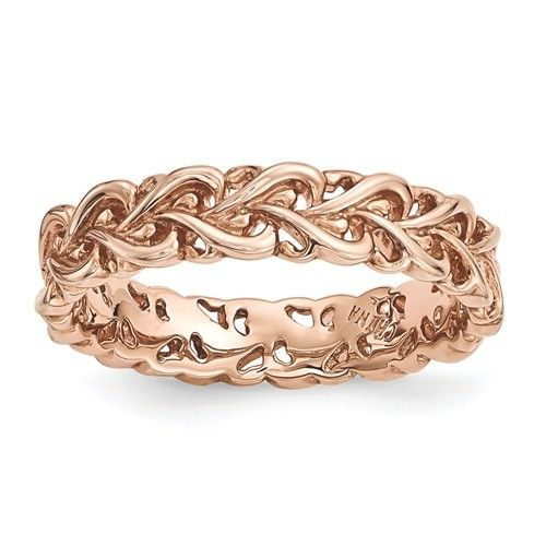Sterling Silver Pink-plated Carved Ring