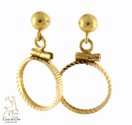 Gold Coin Bezel Earrings 14K Yellow