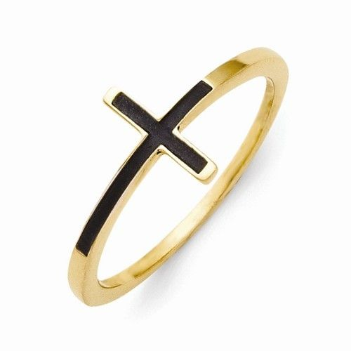 Gold-plated Antiqued Sideways Cross Ring