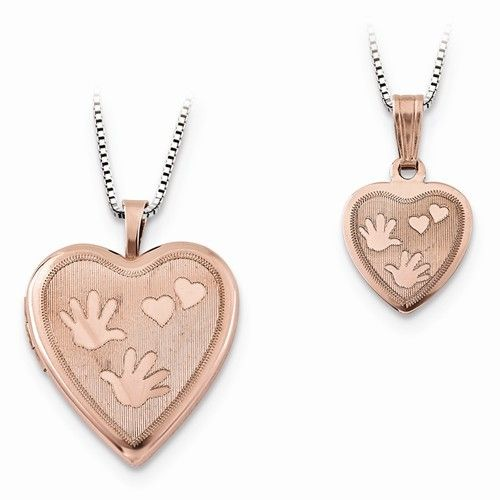 Rose Gold-plated Hand & Hearts Locket Set