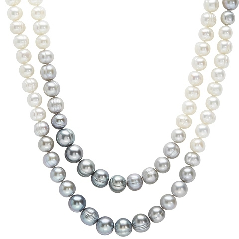 Honora Grey/White Ombre Pearl Necklace