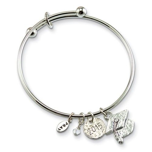 Cap Charm Graduation Bangle