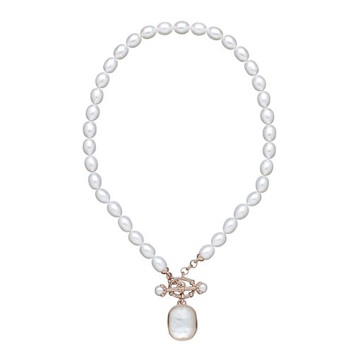 Honora Pearl and Crystal Toggle Necklace