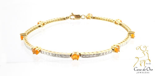 Opal & Diamond Bracelet 14K Yellow
